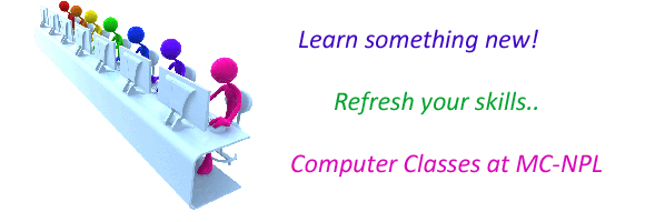 Computer Classes Registration Ongoing at the Main Library.  Spring Term Starts April 9th.