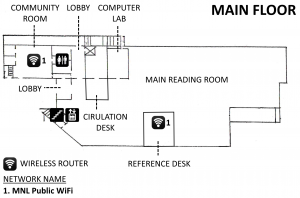 Wireless coverage map for the first floor of the library