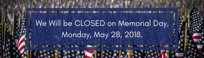 The Library will be CLOSED on Memorial Day, Monday, May 28, 2018