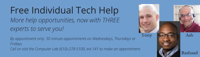 MORE Free Individual Tech Help at the Main Library