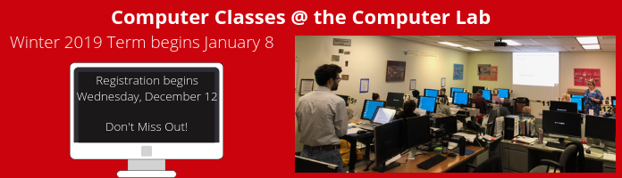 New Term of Computer Classes Coming in January at the Main Library