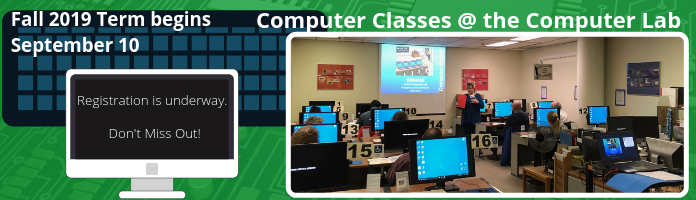 Registration Starts July 15 for Fall 2019 Term of Computer Classes at the Main Library