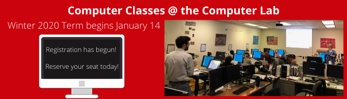 Registration Underway for Winter 2020 Term of Computer Classes at the Main Library