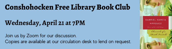 Conshy Library Book Club: 3rd Wednesday of the month