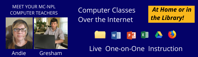 Library Computer Classes – Over the Internet – Update