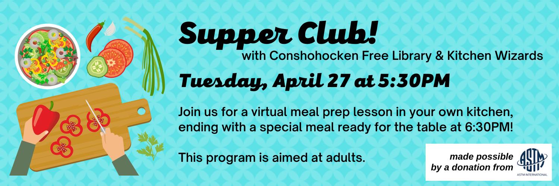Supper Club Virtual Meal Prep Class