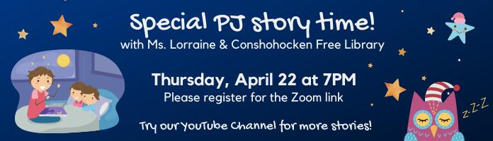 Special PJ Story Time - Thursday, April 22 at 7PM